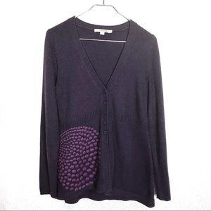 Boden Purple Knit V Neck Button Up Cardigan Sz 10
